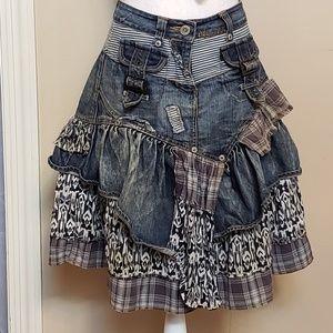 Boho denim ruffle skirt from 'Not The Same',